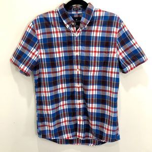 3/$25 AE Short-Sleeved Plaid Button Down Shirt Med